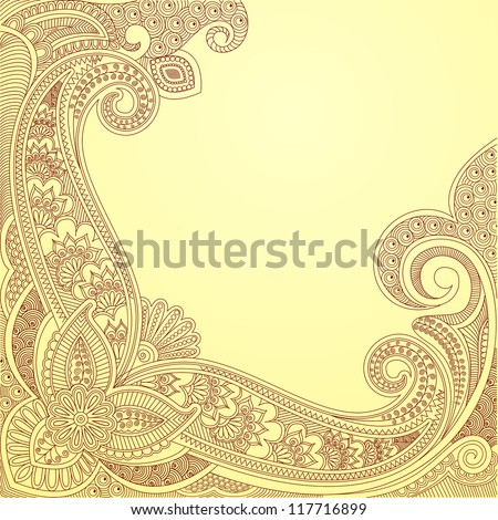 vector illustration of paisley design in vintage style - stock vector