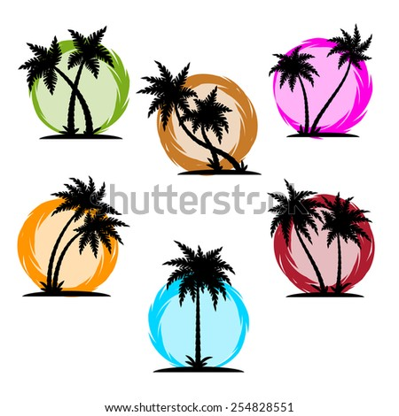 Vector illustration of Palm silhouette color set - stock vector