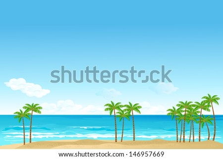 vector illustration of palm tree in sea beach - stock vector