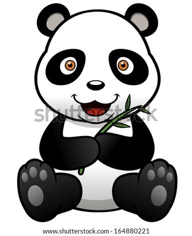 Vector illustration of panda cartoon with bamboo - stock vector