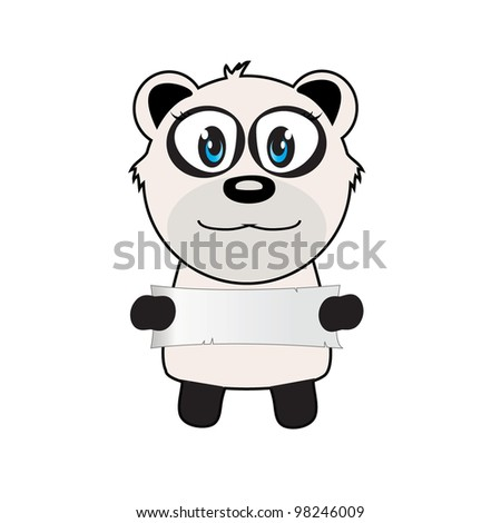 vector illustration of panda with a sign - stock vector