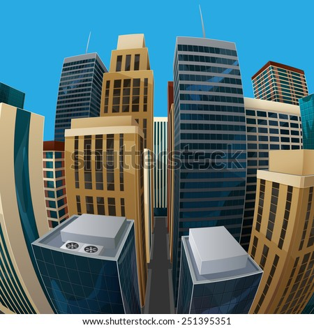 vector illustration of panoramic fisheye lens cityscape view. modern city with skyscrapers, business centers and other buildings. architectural composition with curvilinear perspective - stock vector