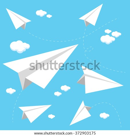 Vector Illustration of paper airplanes flying in the sky. - stock vector