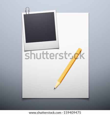 Vector illustration of paper blank and photo frame background - stock vector