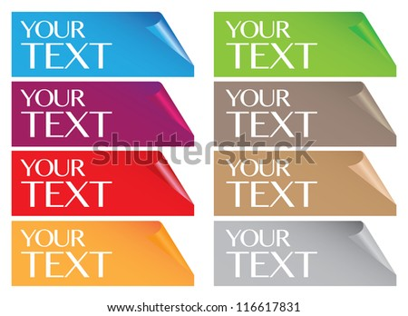Vector illustration of papers with curve corner. Spaces for own copy. - stock vector