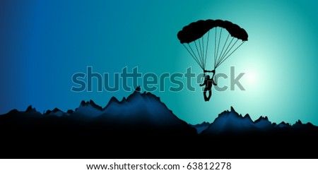vector illustration of  paratrooper - stock vector