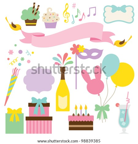 Vector illustration of party collection. - stock vector