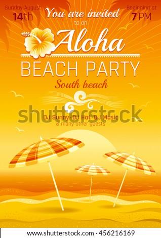 Vector illustration party invitation design hawaiian stock vector vector illustration of party invitation design for hawaiian luau beach party with sand and sunset sea stopboris Gallery