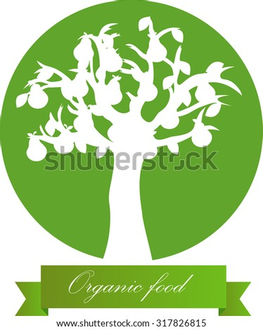 Vector illustration of pear tree on green round with ribbon. - stock vector