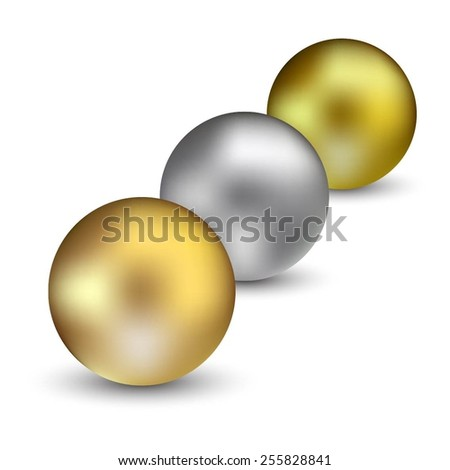 Vector illustration of 3 pearl beads on white.