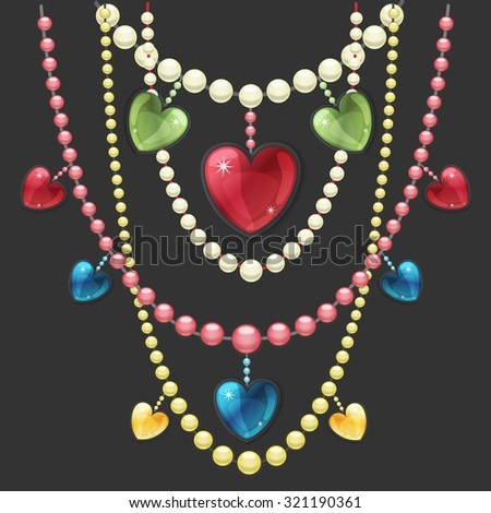 Vector illustration of pearl necklaces hanging one other another with precious gems heart pendants. Vector jewelry design decorative element. - stock vector