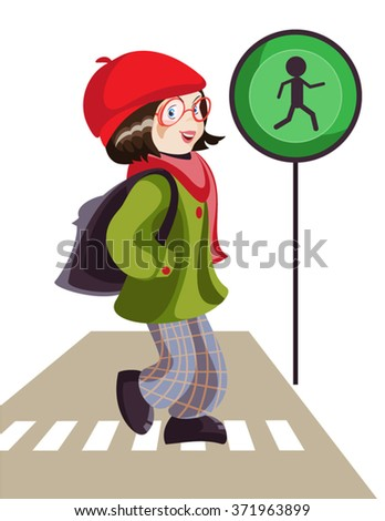 Vector illustration of pedestrian crossing 