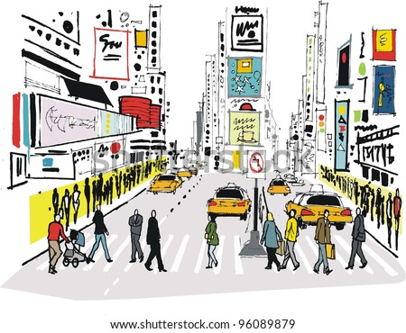 Vector illustration of pedestrians crossing road at Times Square, New York - stock vector