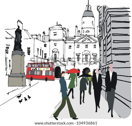 Vector illustration of pedestrians in city street,  Whitehall, London - stock vector