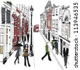 Vector illustration of pedestrians in old London street. - stock vector