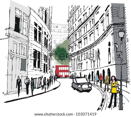 Vector illustration of pedestrians in Whitehall, London England - stock vector