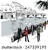 Vector illustration of pedestrians on river path, Thames River, Windsor England - stock vector