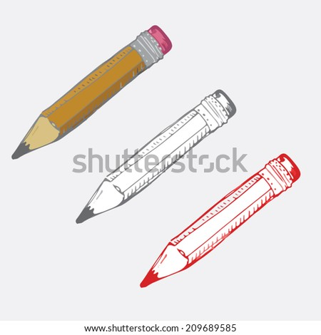 Vector illustration of pencil for school and science pictures - stock vector