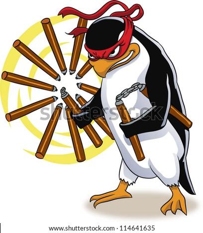 Vector illustration of penguin ninja - stock vector