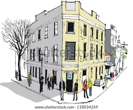 Vector illustration of people and old hotel, Sydney Australia. - stock vector