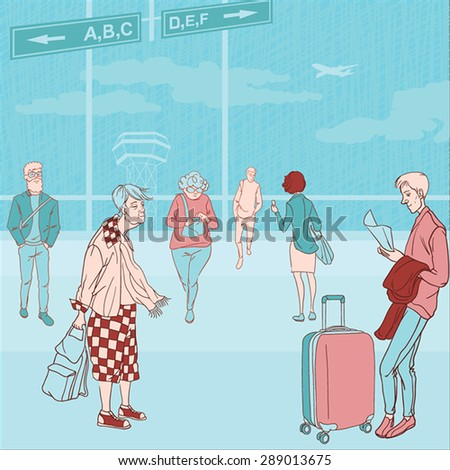 vector illustration of people at the airport - stock vector