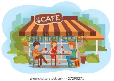 Vector illustration of people at the cafe outdoor. Men and woman sitting in the cafe, outdoor while drinking hot coffee and using laptop and talking about something. Flat modern illustration.