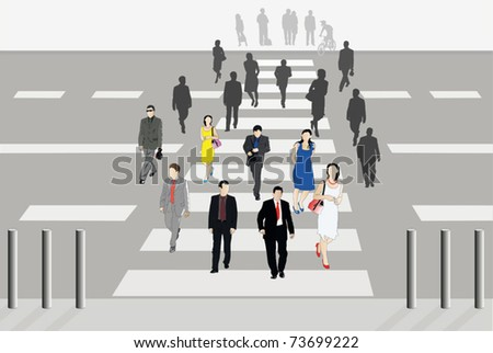 Vector illustration of people cross the road - stock vector