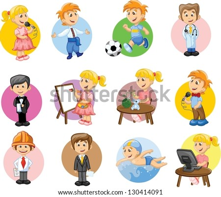 Vector illustration of people different professions - stock vector