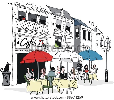 Vector illustration of people dining at French cafe. - stock vector