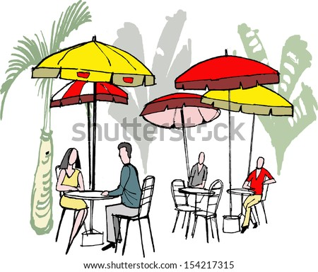 Vector illustration of people dining at outdoors cafe with sun umbrellas. - stock vector