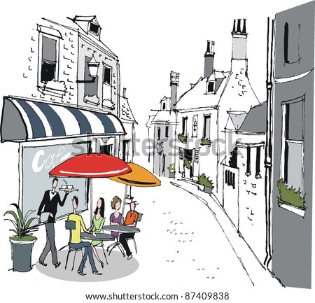 Vector illustration of people dining at sidewalk cafe in France.
