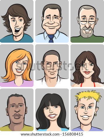 Vector illustration of people faces collection. Easy-edit layered vector EPS10 file scalable to any size without quality loss. High resolution raster JPG file is included. - stock vector
