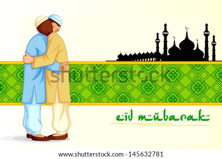 vector illustration of people hugging and wishing Eid Mubarak ( Blessing for Eid) - stock vector