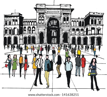 Vector illustration of people in city square, Milan, Italy, - stock vector