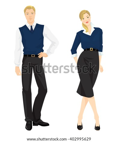 Vector illustration of people in formal clothes isolated on white background.