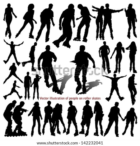 Vector illustration of people on roller skates