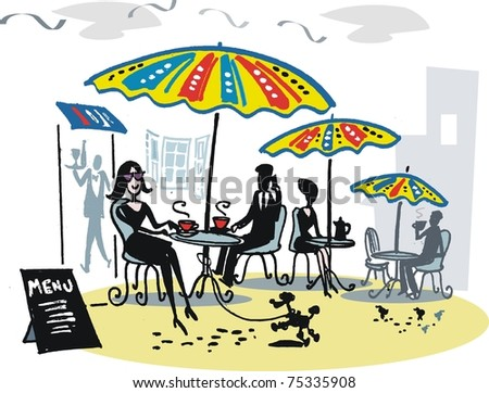 Vector illustration of people sitting at outdoor cafe with colorful umbrellas.