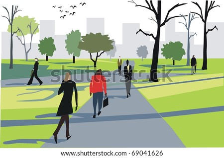 Vector illustration of people walking to work through city park.