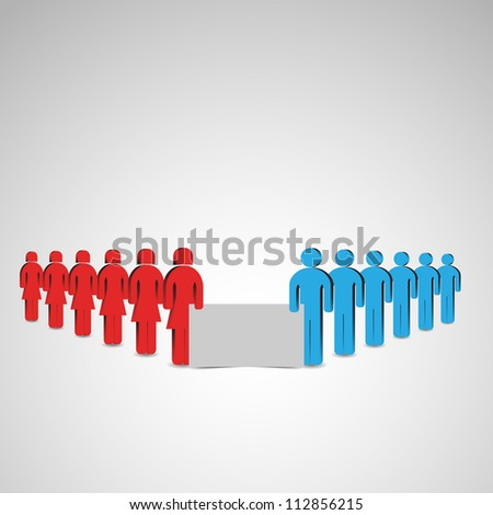 Vector illustration of people with board. Place for customer text.
