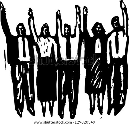 Vector illustration of people with raised arms