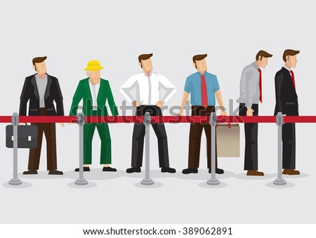 Vector illustration of people, young and old, standing in line behind queue barriers isolated on plain background. - stock vector