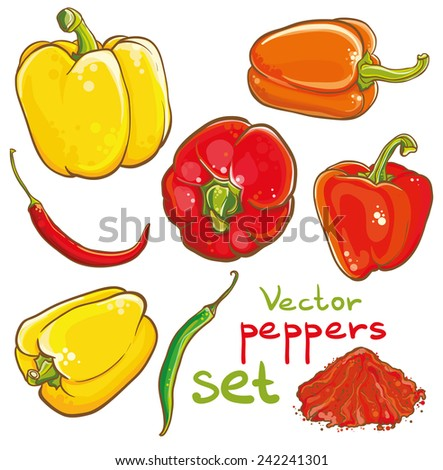 Vector illustration of peppers, chili peppers, cayenne and spice. Eps 10. Isolated. Set of peppers. - stock vector