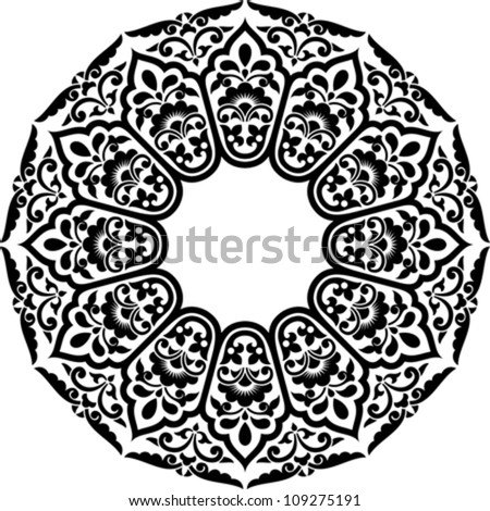 Vector illustration of persian circle ornament. Stencil for decor. - stock vector