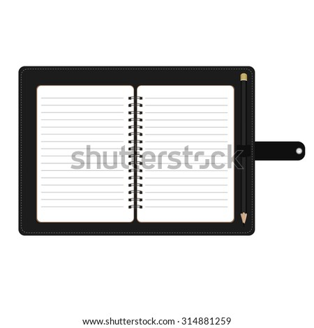 Vector illustration of personal organizer, diary or notebook. Opened organizer in black leather cover with pencil. Notebook with spiral and blank lined paper - stock vector