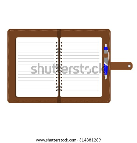 Vector illustration of personal organizer, diary or notebook. Opened organizer in brown leather cover  with pen. Notebook with spiral and blank lined paper - stock vector