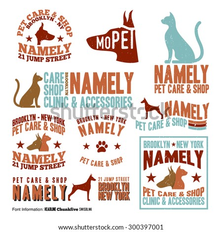 Vector illustration of pet care stamp label design elements. - stock vector