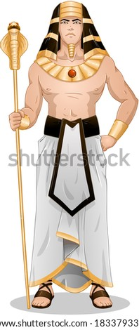 Vector illustration of Pharaoh holding a serpent staff.  - stock vector