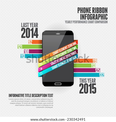 Vector illustration of phone ribbon infographic design element. - stock vector