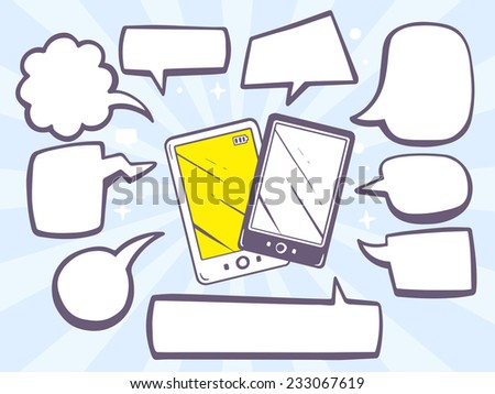 Vector illustration of phones with speech comics bubbles on blue background. Line art design for web, site, advertising, banner, poster, board and print. - stock vector