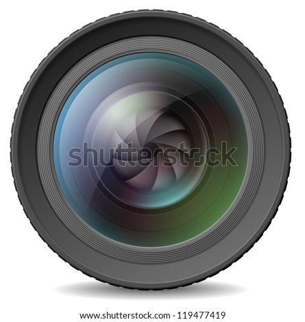 Vector illustration of photocamera lens with shutter - stock vector
